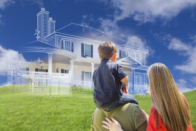 oung Family Facing Ghosted House Drawing